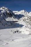 Petit village en vallée de formazza en hiver Photo libre de droits