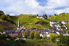 Petit village le long de la Moselle images stock