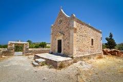 Petite église grecque au monastère de Moni Toplou Photos stock
