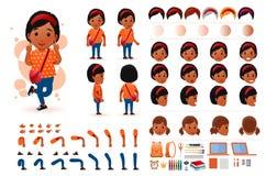 Petite étudiante d'Africain noir Character Creation Kit Template avec différentes expressions du visage Photos stock