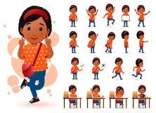 Petite étudiante prête à employer d'Africain noir Character avec différentes expressions du visage Images stock