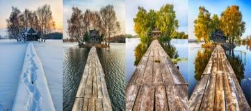 Petite île Quatre saisons une hutte pittoresque en toutes les saisons Image libre de droits