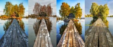 Petite île Quatre saisons une hutte pittoresque en toutes les saisons Image stock
