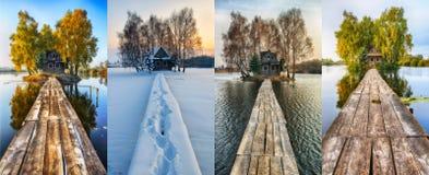 Petite île Quatre saisons une hutte pittoresque en toutes les saisons Images libres de droits
