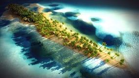 Petite île tropicale dans l'atoll des Maldives du rendu de la vue aérienne 3d Images libres de droits