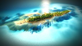 Petite île tropicale dans l'atoll des Maldives du rendu de la vue aérienne 3d Photo libre de droits