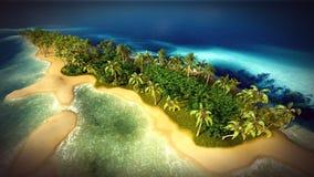 Petite île tropicale dans l'atoll des Maldives du rendu de la vue aérienne 3d Photographie stock