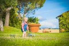 Petite aide sur l'herbe verte dans le jour d'été rustique Images stock