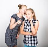 Petite amie deux mignonne exprimant différentes émotions Gosses drôles Les meilleurs amis choient et pose Image libre de droits