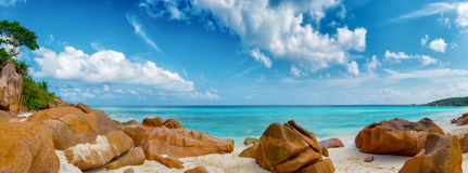 Petite anse beach la digue island seychelles Stock Photography
