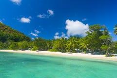 Petite Anse, Seychelles. Petite Anse beach on the Praslin island, Seychelles Stock Photo