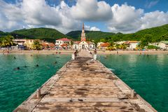 Free Petite Anse D`Arlet Village, With Saint Henri Church And Pontoon, In Martinique Royalty Free Stock Image - 163108856