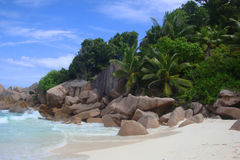 Petite Anse. Isolated beach on the west coast of La Digue, Seychelles Stock Image