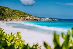 Petite Anse - sandy tropical paradise beach on La Digue in Seychelles. Travel exclusive concept stock photos
