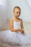 Petite ballerine mignonne avec l'oiseau blanc Images stock