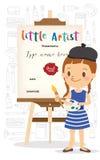 Petite bande dessinée d'artiste se tenant devant le chevalet en bois illustration stock