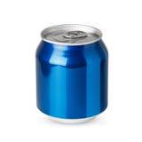 Petite boîte en aluminium bleue photographie stock libre de droits