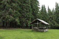 Petite carlingue en bois profondément à l'intérieur de la forêt photos libres de droits