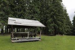 Petite carlingue en bois profondément à l'intérieur de la forêt image libre de droits