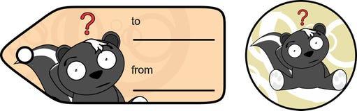 Petite carte cadeaux douce de bande dessinée de mouffette illustration de vecteur