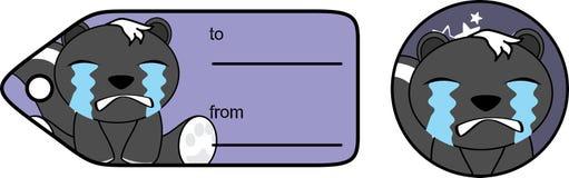 Petite carte cadeaux pleurante de bande dessinée de mouffette illustration de vecteur