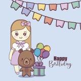 Petite carte mignonne de joyeux anniversaire de poupée illustration libre de droits