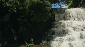 Petite cascade cascadant au-dessus des roches dans le mouvement tropical de Forest Slow banque de vidéos