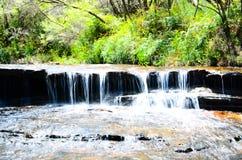 Petite cascade dans la forêt tropicale chez Wentworth Falls, Nouvelle-Galles du Sud, Australie photo stock