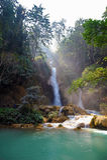 Petite cascade dans la jungle du Laos Images libres de droits