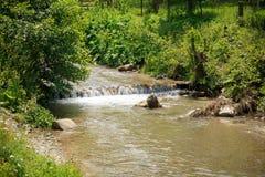 Petite cascade sur une rivière de montagne Images libres de droits