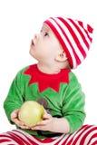 Petite chéri dans le procès de Santa Image stock