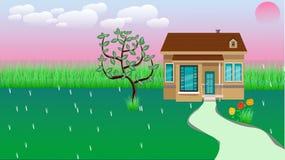 Petite Chambre avec Nice la cour et la fleur vertes de cour illustration de vecteur
