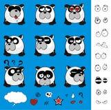 Petite collection mignonne d'ensemble d'expressions de style de boule d'ours panda illustration libre de droits