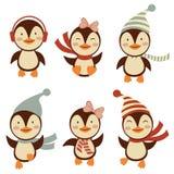 Petite collection mignonne de pingouins Photographie stock