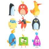 Petite collection mignonne de poussins d'oiseau de personnages de dessin animé dans des formes géométriques, animaux mignons styl Photographie stock libre de droits