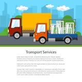 Petite commande de camions sur la route, affiche Images libres de droits