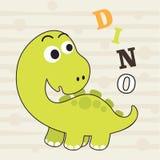 Petite conception mignonne et affiche de T-shirt d'enfants de dinosaurus Photographie stock libre de droits