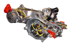 Petite coupure d'engine d'essence, vélo 50cc de moteur Photographie stock libre de droits