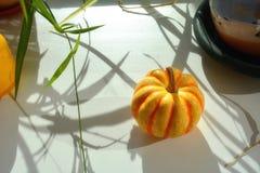Petite courge jaune-orange se trouvant sur le filon-couche de la fenêtre Photos stock