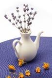 Petite cruche de porcelaine avec les fleurs sèches de lavande photographie stock libre de droits