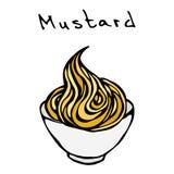 Petite cuvette blanche de moutarde La sauce pour les aliments de préparation rapide aiment le hot-dog Illustration tirée par la m Photo libre de droits