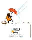 Petite dame sous la pluie Illustration Libre de Droits