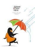 Petite dame sous la pluie Illustration de Vecteur