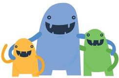 Petite famille heureuse de monstre Photos libres de droits