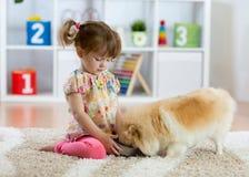 Petite fille adorable alimentant le chien mignon image libre de droits