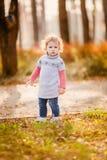 Petite fille adorable avec des feuilles d'automne Image stock