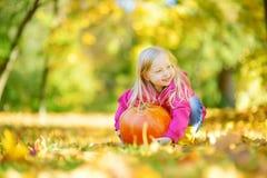 Petite fille adorable ayant l'amusement sur une correction de potiron le beau jour d'automne Photos stock
