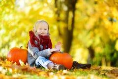Petite fille adorable ayant l'amusement sur une correction de potiron le beau jour d'automne Images stock