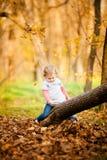 Petite fille adorable sur l'arbre avec des feuilles d'automne Photo stock