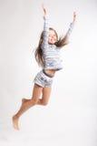 Petite fille au-dessus du fond blanc Photo libre de droits